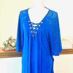 ☀️ 🏝 Dotti Lace-up Swimsuit Cover-up, Blue (New)